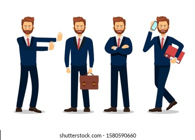 Business man character design.  Vector illustration.