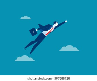 Business man character flying through sky. Concept business illustration. Vector flat for website