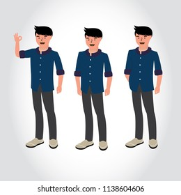 Business man character. funny cartoon guy in casual clothes