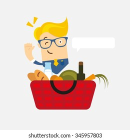 Business man character with glasses with shopping basket with fresh farm top quality bio food. Delivery man