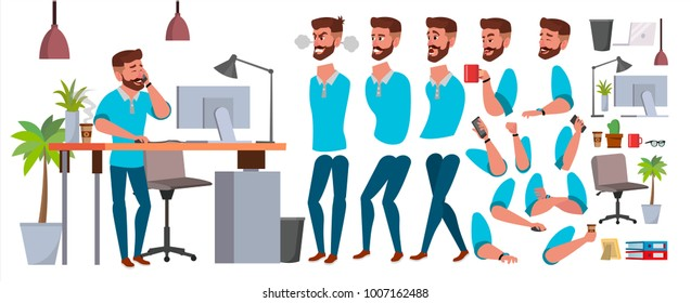 Business Man Character Vector. Working Male. Casual Clothes. Start Up, Office, Creative Studio. Animation Set. Bearded Salesman, Designer. Face Emotions, Expressions. Isolated Cartoon Illustration
