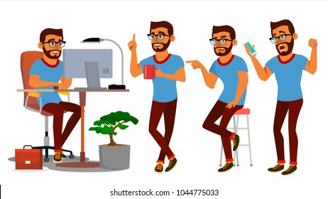 Business Man Character Vector. Working Hindu, Man. Team Room. Brainstorming. Environment Process In Start Up Office. Programmer, Designer. Code. Javascript. Cartoon Business Character Illustration