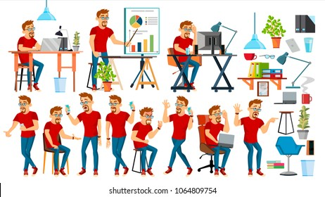 Business Man Character Vector. Working People Set. Office, Creative Studio. Bearded. Worker. Full Length. Programmer, Designer, Manager. Poses, Face Emotions. Cartoon Business Character Illustration