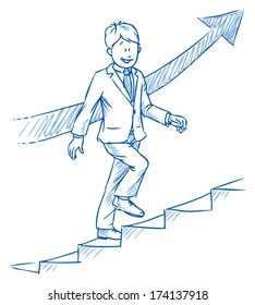 Business man climbing stairs,Â?Â? concept of success and career,Â?Â? hand drawn vector illustration