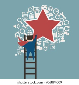 Business man climbing to recommended favorite idea for creativity,flat vector design.