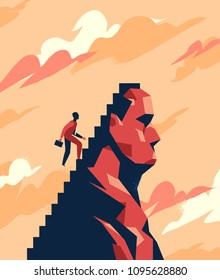 A business man is climbing the stairs toward the peak