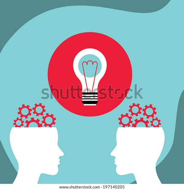 Business man communication, conversation. Bright ideas concept. Vector illustration