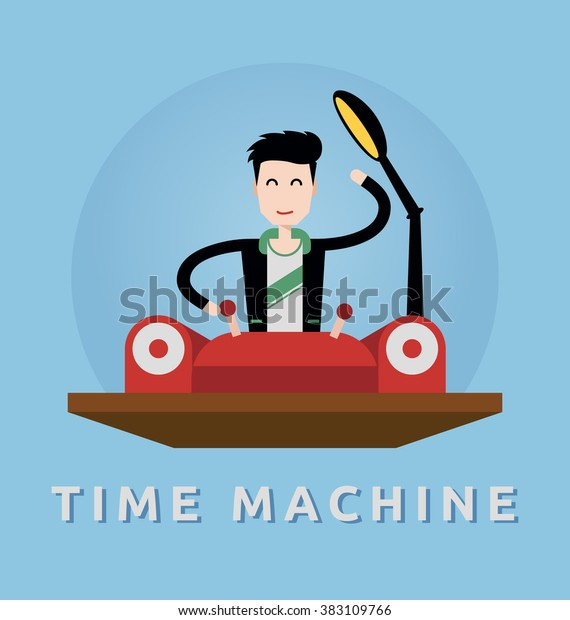 Business man control the time machine. back to the past and the future concept