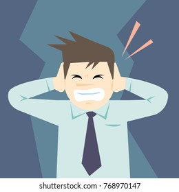 Business man covering his ears with hands.He don't want to hear anything.concept of stress-vector cartoon