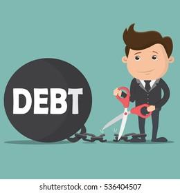 Business man cutting debt burden.  Business concept - vector illustration