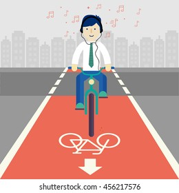Business man cyclists in city. Cycling on bike path. Bicycle road sign and bike rider. Flat illustration. Men riding bike end listening music. Fitness, sport, and healthy lifestyle concept.