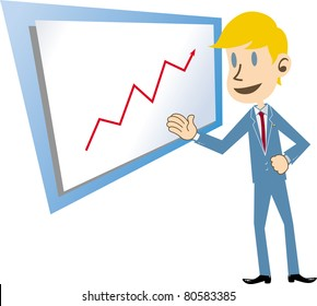 Business man and diagram of success