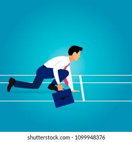 Business man with diplomat preparing for explosive start. Metaphor of start up entrepreneurship or career start