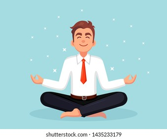 Business man doing yoga. Worker sitting in padmasana lotus pose, meditating, relaxing, calm down and manage stress. Vector flat design