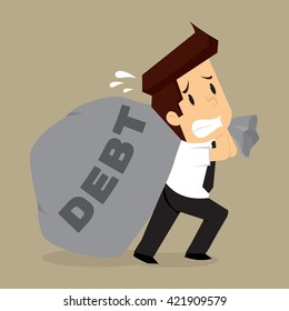 business man dragged bags debt. vector
