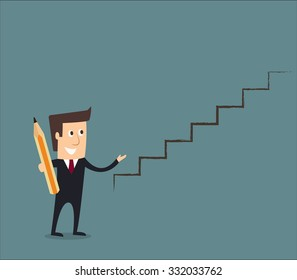business man drawing a staircase to success