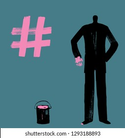 A Business Man Draws Hashtag Symbol with Pink Paint, Dark Silhouette, creating hash tags, more likes, social media concept, digital marketing, making hashtags, pioneer, instagram man, twitter person