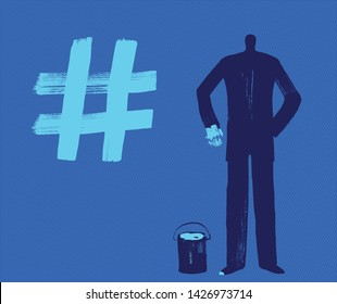 A Business Man Draws Hashtag Symbol with Paint, Dark Silhouette, Creating Hashtags Concept,  Influencer, Blue Background,  Illustration, Digital Marketing, Business, Technology, Telecommunications