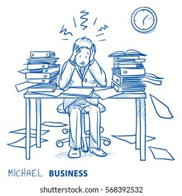 Business man employee being desperate of too much work at his desk full of documents concept for stress, burnout, chaos or bad organization. Hand drawn line art cartoon vector illustration.