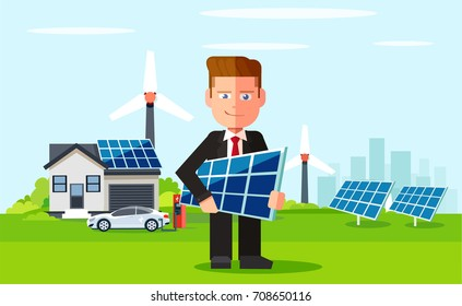Business man employee of solar power plant and wind farm on background of clean energy powered household. Vector flat design illustration