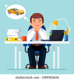Business Man Entrepreneur Dreaming About Car Auto Working On Computer At Office Desk