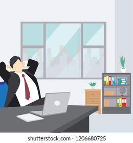 Business man entrepreneur in a suit working on office