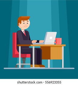 Business man entrepreneur in a suit working on a laptop computer at office desk at night. Office worker. Flat style color modern vector illustration.