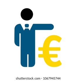 Business man with Euro sign - money symbol, banking illustration