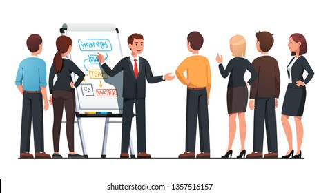 Business man executive manager explaining strategy to staff pointing on hand drawn diagrams on flipchart board. Team planner meeting. Employee people group listening to boss. Flat vector illustration