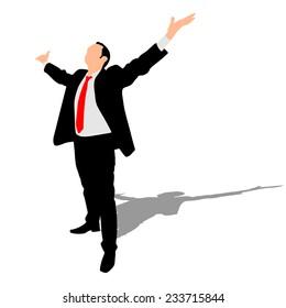 business man expressing winning winner energy success, vector