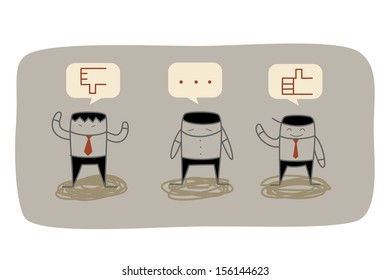 business man feedback to question in marketing research