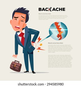 business man feeling pain in back. Businessman suffering from back pain with film x-ray inside. character design - vector illustration