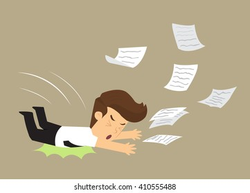 business man fell, document work distribution. vector