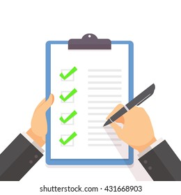 Business man fill the green check list on the clipboard with hand holding concept flat style vector illustration