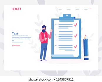 Business man fill out  checklist on a clipboard paper. Big pencil, mission completed concept for web page, banner, presentation, social media, documents, cards, posters. Vector illustration