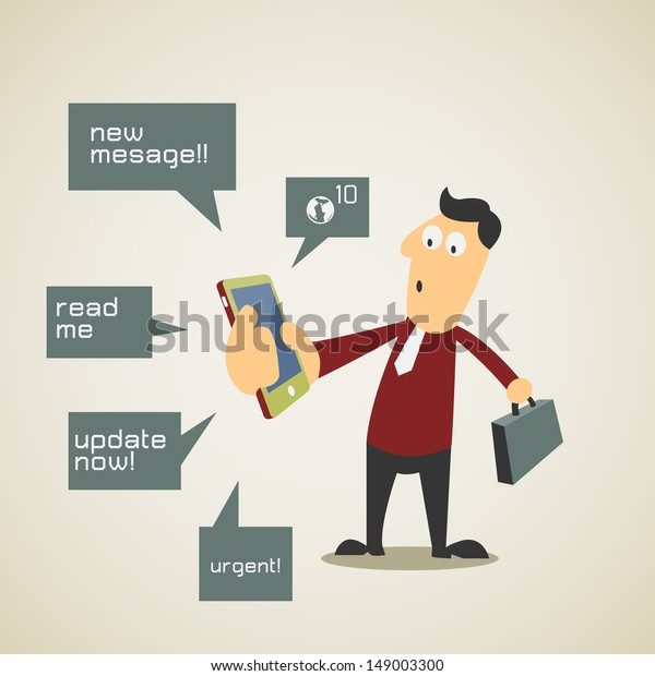 Business Man Find Himself Busy Notification Stock Vector