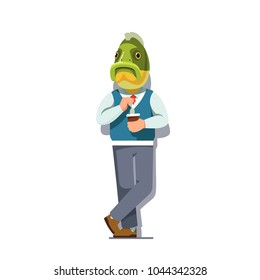 Business man with fish head standing with tea in disposable cup in hand. Carp fish animal head person clerk character wearing clothes. Flat style vector illustration isolated on white background