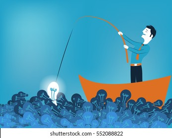 Business man fishing a good idea in sea of light bulb vector illustration