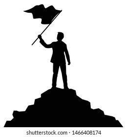 Business man with flag on hill silhouette vector