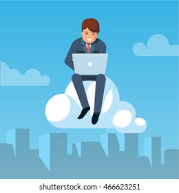 Business man flying in the sky above city downtown sitting on a cloud and working on laptop. Cloud computing concept. Modern flat style vector illustration isolated on sky background.