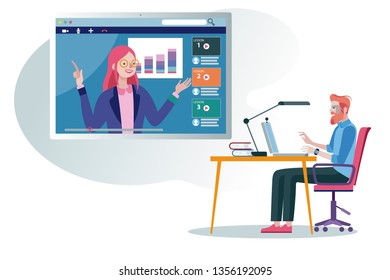 A business Man following an online education and e-learning course through his laptop computer with a online professional teacher. Flat design illustration.