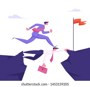 Business Man in Formal Suit Running over Head of Colleague, Careerist Businessman Goal Achievement, Opportunity, Success, Career Growth, Strongest will Survive Concept Cartoon Flat Vector Illustration