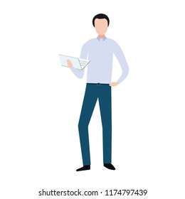 Business man in formal wear and laptop in hands standing. Sucsess in business. Vector illustration.