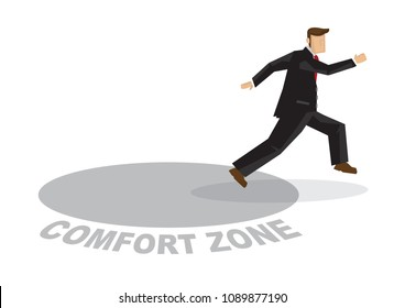 Business man getting out of his comfort zone. Concept of innovation, transformation and growth. Vector cartoon illustration.