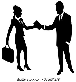 business man is giving a book to a business woman