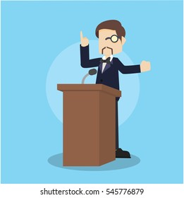 business man giving speech on podium