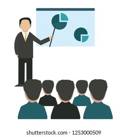 Business man giving a speech showing sales statistics graphs on presentation screen. Flat style color modern vector illustration