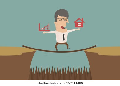 Business man  go to risk , eps10 vector format