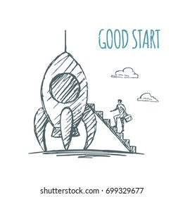 Business man goes up the stairs to the rocket. Good start. Vector business concept hand drawn sketch.