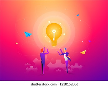 Business man with golden key help unlock idea bulb. Business idea, development and strategy concept. New business project start up concept